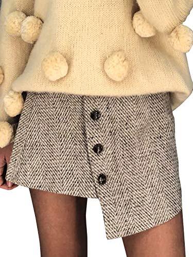 Lady Mini Button - Simplee Women's Vintage Button up Asymmetric High Waist Mini Pencil Skirt