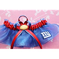 Customizable - New York NY Giants fabric handmade into bridal prom blue organza wedding keepsake garter with football charm