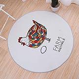 GIY Round Area Rug Children Animal Chicken Living Room Carpet Kids Baby Cute Cartoon Bedroom Rugs Non-Slip Circular Bathroom Mats Home Decorate Runners2' X 2'