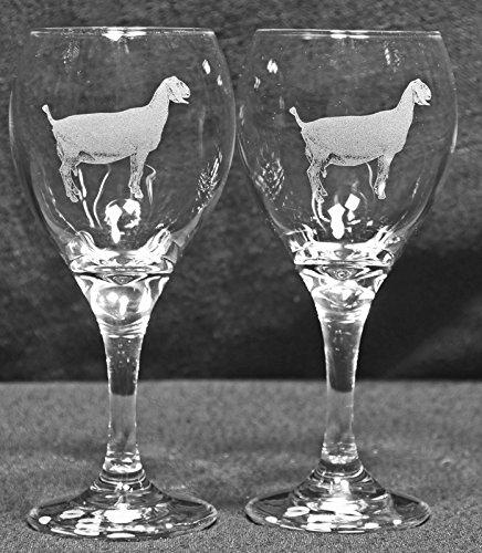 Muddy Creek Reflection Nubian Goat Laser Etched Wine Glass Set (2, TDW)
