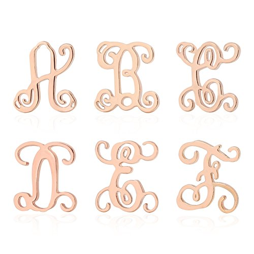 Lazycat A-Z 26 Letter Earrings Stainless Steel 18K Rose Gold Plated Monogram Alphabet Letter Initial Stud for Women