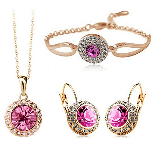 MAFMO Women Fashion Jewelry 18K Gold Plated Crystal Round Shaped Necklace Bracelet Earrings Set (Pink)