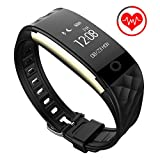 Fitness Tracker, Next-shine Heart Rate Monitor Health Activity Tracker For Sport, Running, Walking, Sleeping, Swimming, Waterproof Pedometer Wristband for iPhone or Android Smartphones - Black