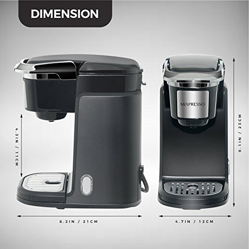 Mixpresso - Single Serve Coffee Maker | Compatible with K-Cups | Quick Brew Technology with Auto Shut-Off | One Touch Function | Programmable Features | Available in Dark Grey & Black Color by Mixpresso (Image #1)
