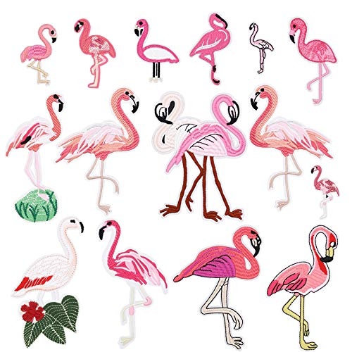 15pcs Flamingo Iron on Patches Embroidered Motif Applique Assorted Size Decoration Sew On Patches Custom Patches for DIY Jeans, Jacket, Kid's Clothing, Bag,Caps, Arts Craft Sew Making (Flamingo 15pcs)