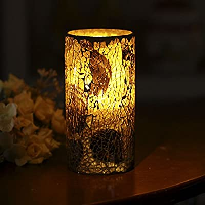 GiveU Mosaic Flameless Pillar Led Wax Candle with Timer, 3 x 6, for Home Party & Festival Celebration, Multi Brown - ARE YOU PLANNING A PARTY OR WEDDING? -- Unique and unchained cracked mosaic glass design style. Package of 1, Candle size 3 inches Diam x 6 inches Height. Made with high quality wax and mosaic glass that include a features 4H-Off-8H switch. . .they are perfect for Weddings and Parties. . . or a quite evening for two. Now prepare to enjoy a party in the candlelight. . . EASY TO USE TIMER -- Just set the timer to illuminate the candle at the same time every day. The switch on the bottom of each candle allows you to set the 4/8 hour timer glow, automatically turn on at the same time on the next day. It toggles: Off/Timer for easy & convenient operation. Electric fake pillars which make a great gift for teens, seniors and anyone that love candles 4&8. PEACE & COMFORTABLE -- Enjoy all the benefits of traditional candles and none of the negatives! No more dripping-hot wax, no more smoke or worry about falling asleep without blowing out the candles. Blinking slowly, like a real candle flame, it won't have any scent, create romantic and peaceful private environment for your time. - living-room-decor, living-room, candles - 51jhCo mVnL. SS400  -