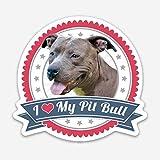 rescue merchandise - I Love My Pitbull Red, White & Blue Magnet, Pitbull Magnet for Car, or Fridge, 3