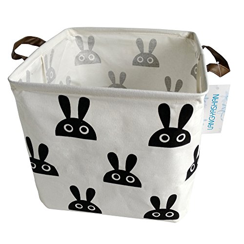 Canvas Storage Bins Toy Box Square Collapsible Waterproof Nursery Hamper for Laundry,toy organizer, kids hamper,baby room decor (Bunny) - Bunny Basket Craft