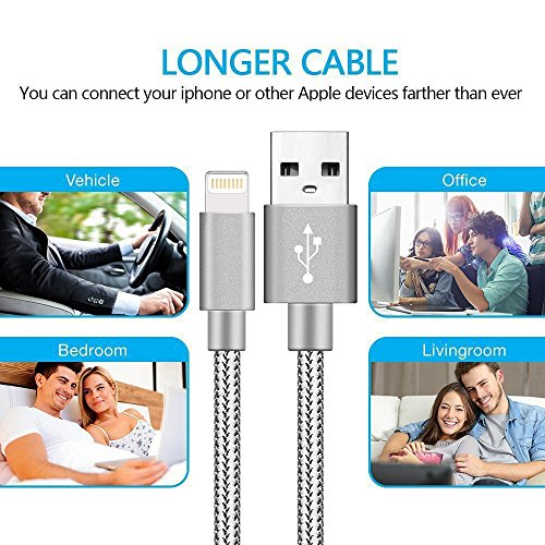 7 7 Plus 6 8 Plus BULESK Phone Cable 3Pack 10FT Nylon Braided Certified Phone Charger USB Cord Charging Charger Compatible with Phone Xs,XS Max,XR,X,Phone 8 Grey White 6s