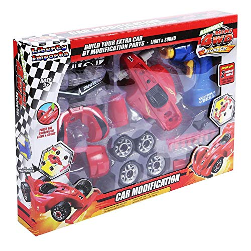 Build Your Own Racing Vehicle Toy Construction Playset Race Car Realistic Sounds /& Lights with Tools and Power Drill Liberty Imports Kids Take Apart Toys