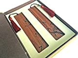 Unique Gift - Olina Handmade Natural Wood Couple Bookmarks-best Gifts (Couple Rosewood-Plum & bamboo)