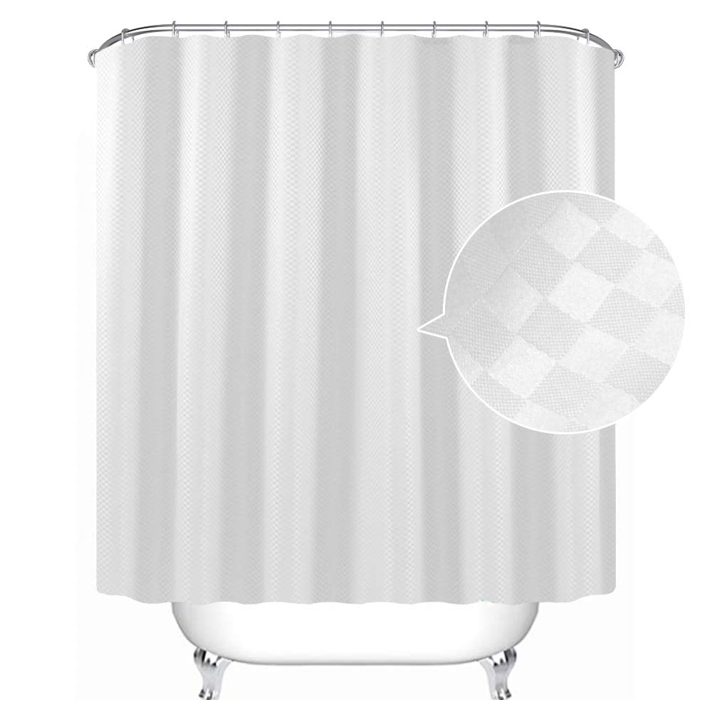 Uphome Bathroom Shower Curtain, Plain White Heavy Duty Waffle Weave Fabric Bath Stall Curtain Set, Hotel Quality Waterproof and Mildew Resistant, 72''W x 72''L