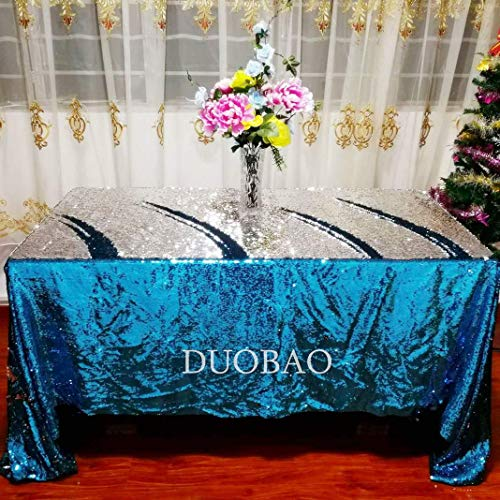 DUOBAO Mermaid Sequin Tablecloth Turquoise to Silver Reversible Sequin Table Cloth Sequin Overlay-50x80-Inch ()