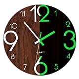 Foxtop Vintage Rustic Country Tuscan Style 12 Inch Wooden Night Light Function Silent Non-Ticking Wall Clock, Dark Brown