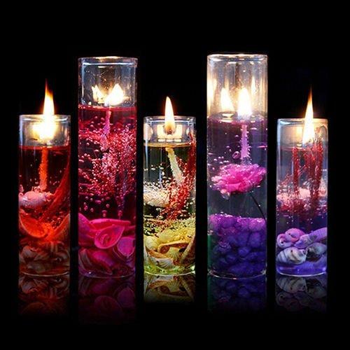 UNAKIM --Romantic Glass Bottles Ocean Smokeless Jelly Wax Wedding Gel Candles Showy