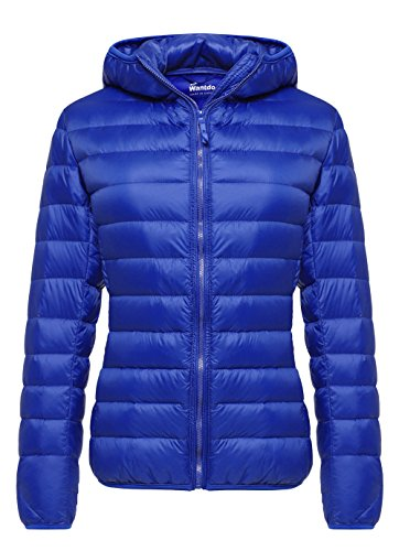 - Wantdo Women's Hooded Packable Ultra Light Weight Down Coat Short Outwear(Sapphire Blue,US Small)