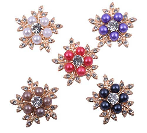- KAOYOO 10Pcs New Crystal Rhinestone with Pearl 3D Flowers Embellishments Buttons Gold Plated Sew on Buttons(30mm)