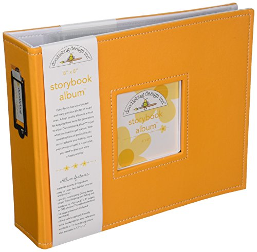 Doodlebug Design Storybook for Scrapbooking Album, 8 by 8-Inch, Tangerine
