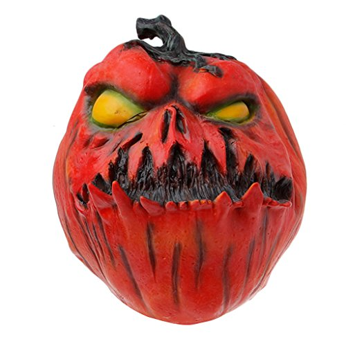 Misright Halloween Scary Evil Latex Ugly Pumpkin Mask Full Face Fancy Dress Costume Part (Halloween Pumpkin Scary Faces)