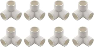 "SDTC Tech 1/2"" 3 Way PVC Fitting Furniture Grade Pipe Right Angle Three-Dimensional Elbow Connector for DIY PVC Shelf Garden Support Structure Storage Frame, White - 8 Pack"
