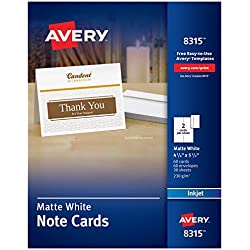 Avery Printable Note Cards, Inkjet Printers, 60 Cards and Envelopes, 4.25 x 5.5, Heavyweight (8315)