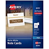 Avery Printable Note Cards, Inkjet Printers, 60 Cards and Envelopes, 4.25 x 5.5, Heavyweight (8315), White