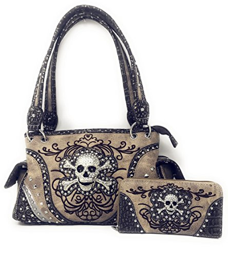 Rhinestone Skull Metal Color Leather Womens Handbag & Matching Wallet Collection in Multi Colors (Beige) -