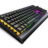 [LED Version] OJA Voice Control Backlit Wired Gaming keyboard LED Rainbow with Mechanical Feel Office USB RGB keyboards 104 key for PC Industrial Computer (Black)