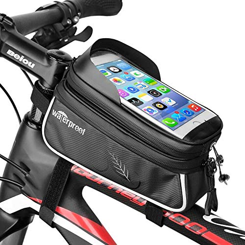 Jhua Bike Front Frame Bag, Waterproof Cycling Pannier Top Tube Frame Handlebar Bags Touch Screen Bike Pouch Phone Holder Phone Storage Bag Up to 6 Inch – Black