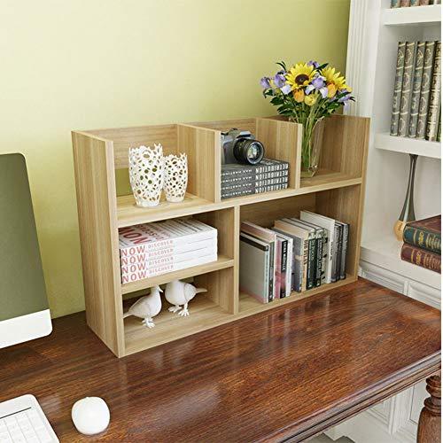 HM&DX Bookcase Shelf Open 6-Cube,Contemporary Wood Bookshelf Storage Organizer Display Rack for Home Office-Light Walnut 31x8x20 inch ()