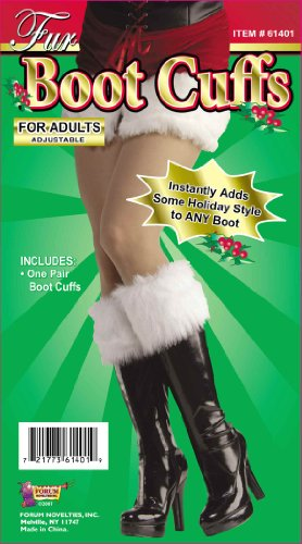 Forum Novelties Women's Sexy Santa Fur Boot Cuffs, White, One Size (Ladies Costume)