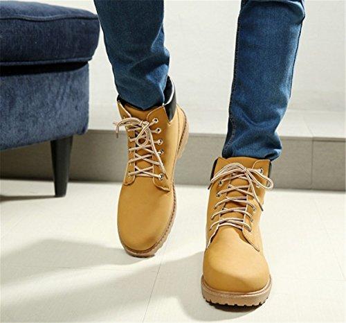 Bininbox Mens Casual High-top Stivali Da Lavoro In Cotone Neve Sneakers Traspiranti Scarpe Da Ginnastica Sportive Vintage Giallo