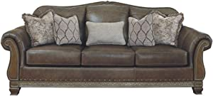 Signature Design by Ashley - Malacara Faux Leather Sofa, Brown