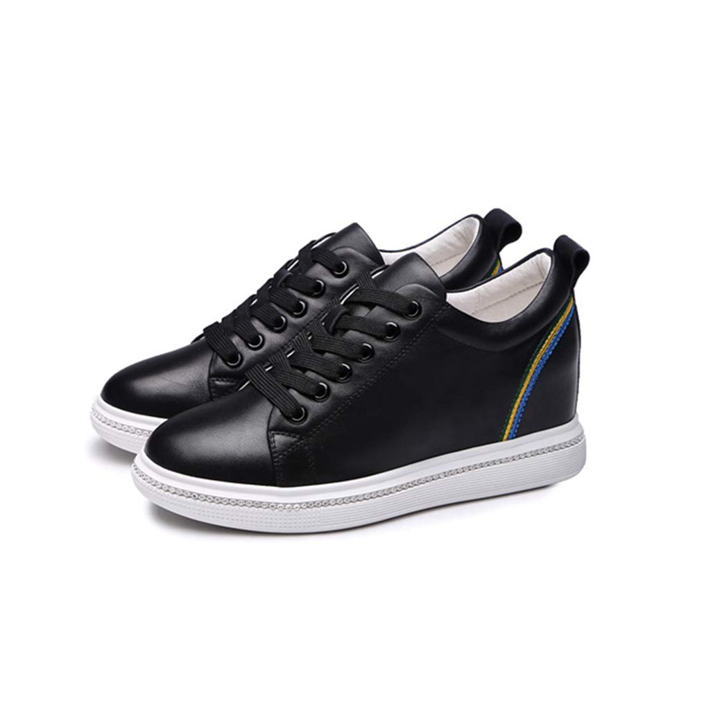 Black T-JULY Wedges Sneakers Women Genuine Leather Platform shoes for Women Autumn Lace-up Casual shoes Height Increase