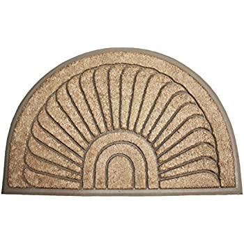 J U0026 M Home Fashions Half Round Sunburst Coco U0026 Rubber Doormat, 18 By 30