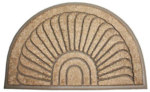 Round Sunburst Half (Natural Coir Rubber Non-Slip Doormat, 24x36
