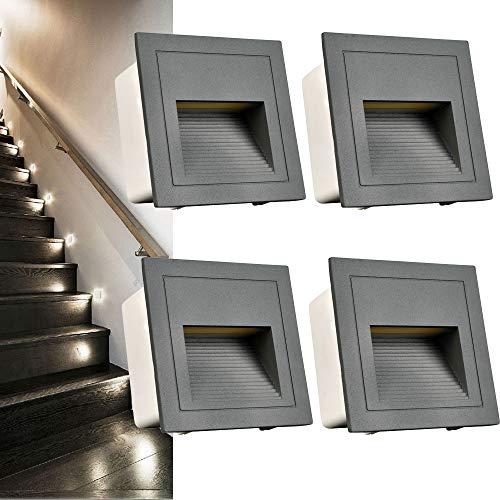 Arote Juego de 4 Aplique empotrable de pared LED de 3W, IP65 Blanco frio Luces de escalera, Aluminio, Iluminación y…