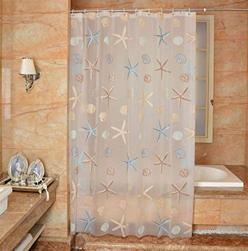 Ufatansy Uforme Sea Star Theme Pattern Shower Curtain Liner Waterproof, 100% Eco-Friendly PEVA Bathroom Curtian Stain Resistant with Rustproof Metal Grommets, Standard Size (72Wx72L) ()