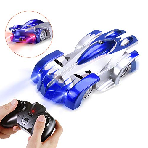 Suteck Remote Control Car Toy for Boys, Wall Climbing RC Car - Dual Mode Gravity Defying 360°Rotating Stunt Rechargeable Vehicles W/LED Head for 6-16 Years Old Kids Birthday Gifts Blue