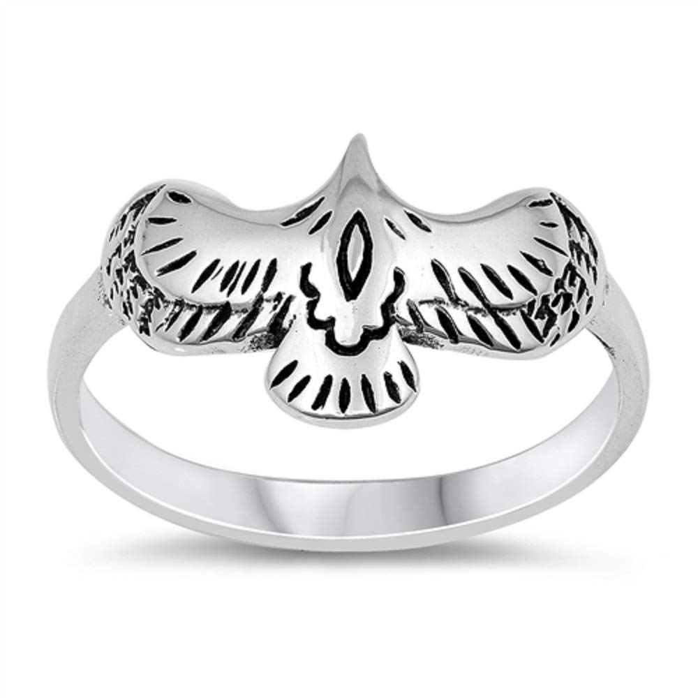 CloseoutWarehouse Oxidized Sterling Silver Flying Eagle Ring