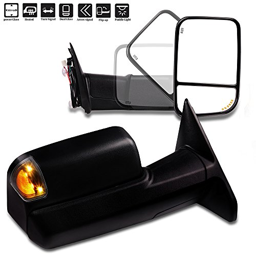 SCITOO Compatible fit for Dodge Towing Mirrors Black Rear View Mirrors 2009-2017 Ram 1500 2010-2017 Ram 2500 3500 Arrow Turn Signal Side Marker Light Power Control Heated Puddle Light Features