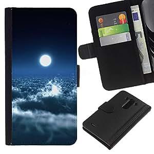 All Phone Most Case / Oferta Especial Cáscara Funda de cuero Monedero Cubierta de proteccion Caso / Wallet Case for LG G3 // Bright Moon Clouds Blue Sky Heaven Art Space