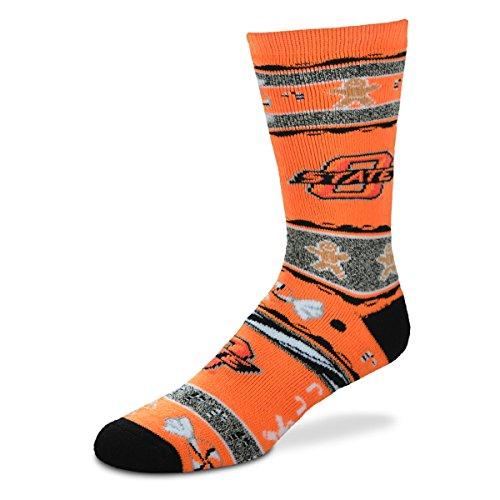 For Bare Feet NCAA Ugly Christmas Holiday Socks-Oklahoma State ()