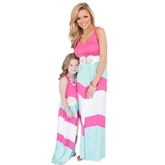 Amazon.com: Daxin vestido con pespunte a rayas, maxi vestido ...