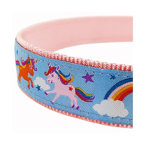 Bestbuddy Pet Fashion Designer Cartoon Unicorns and Rainbows Durable Nylon Ribbon Dog Collar Pet Collar Trendy Comfortable Adjustable Dog Collar with Buckle BBP035 4