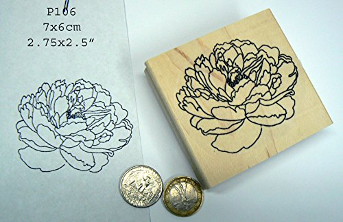 P106 Large Peony flower rubber stamp (Peony Rubber Stamp)