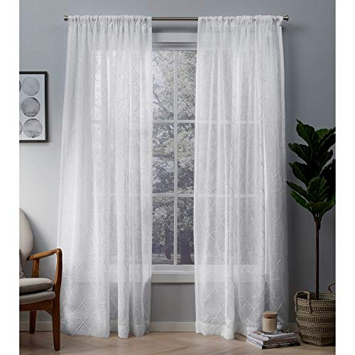 Exclusive Home Curtains Cali Embroidered Sheer Window Curtain Panel Pair with Rod Pocket, 50x96, Winter White, 2 Piece