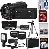 Panasonic HC-VX981 Wi-Fi 4K Ultra HD Video Camera Camcorder 64GB Card + Hard Case + Tripod + LED Light + Mic + Filters + Tele/Wide Lens Kit