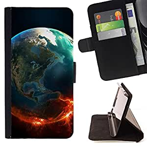 DEVIL CASE - FOR Samsung Galaxy S6 EDGE - Space Planet Galaxy Stars 47 - Style PU Leather Case Wallet Flip Stand Flap Closure Cover