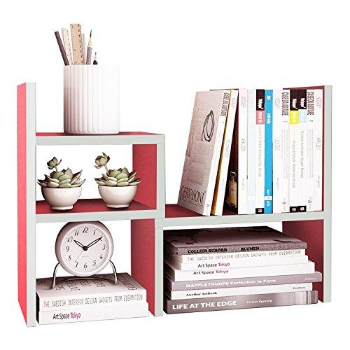 DL furniture Expandable Wood Desktop Storage Organizer Multipurpose Desk Bookshelf Display Shelf Rack Counter Top Bookcase for Office Home   Pink by DL furniture